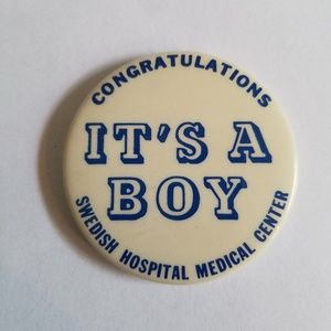 Vintage It's a Boy Gender Reveal Button Pin Baby